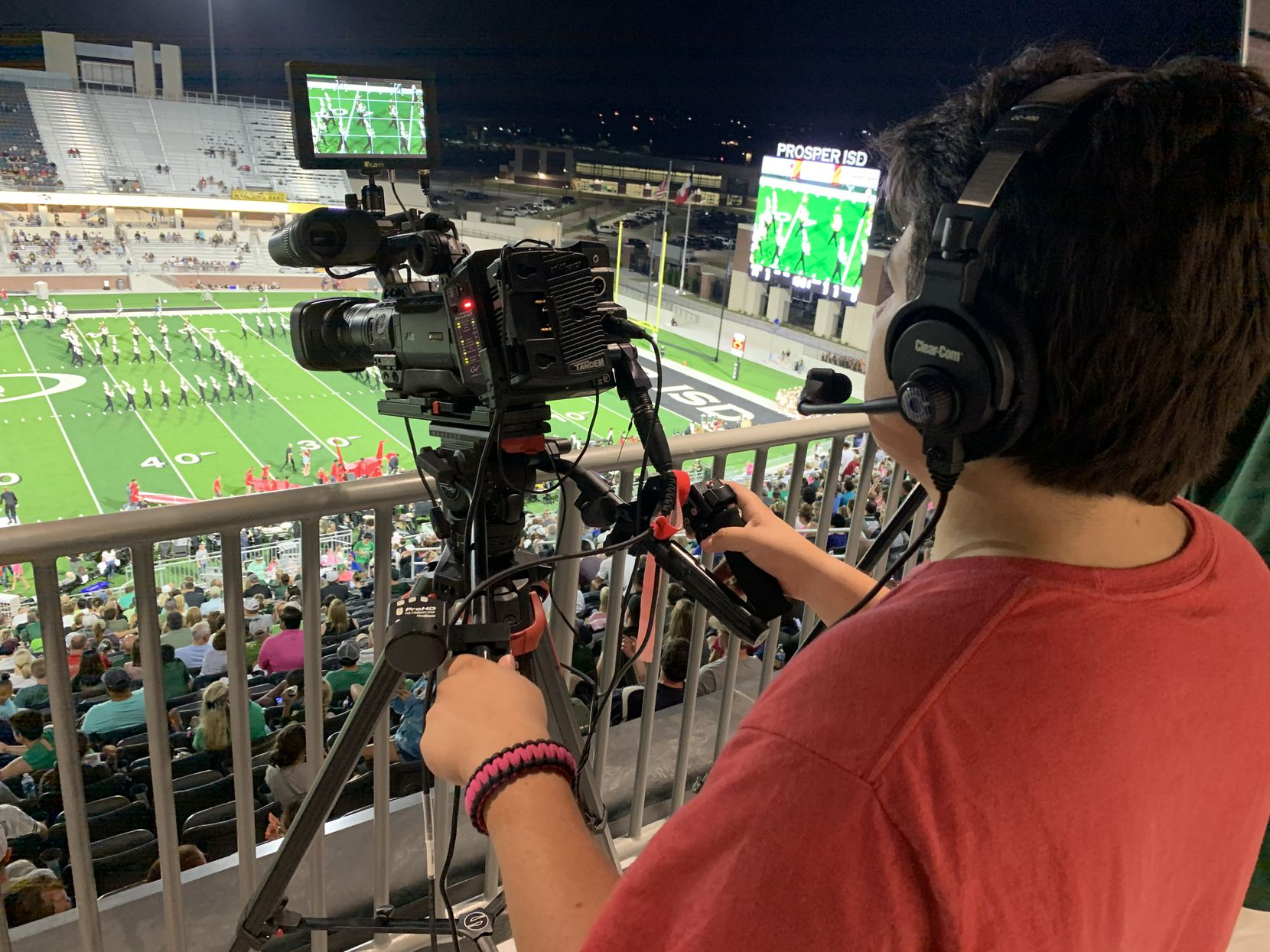A crew of two adults and 14 students will run the live broadcast for Prosper ISD football games this season. The games will be live streamed on NFHS Network.