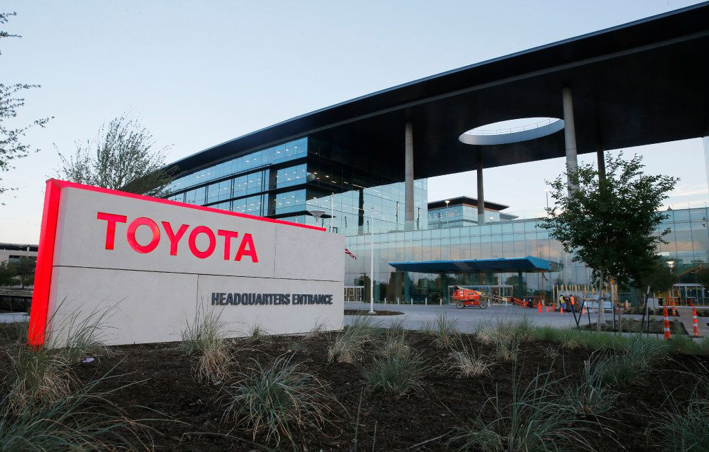 Sign out front at the new Toyota North American headquarters in Plano on Monday, May 15, 2017.
