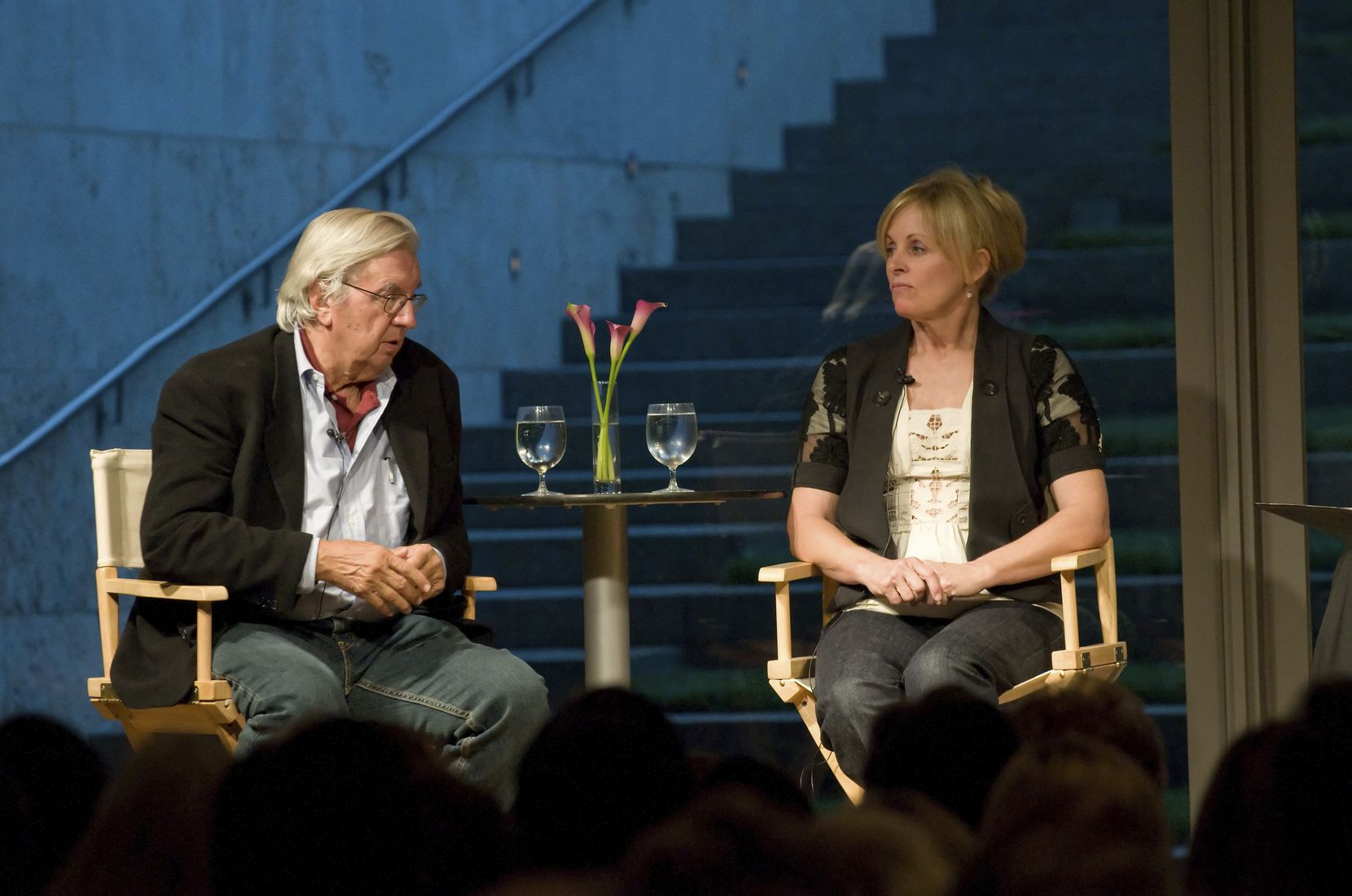 Larry McMurtry with writing partner Diana Ossana at the Nasher Salon Lecture Series in 2008.