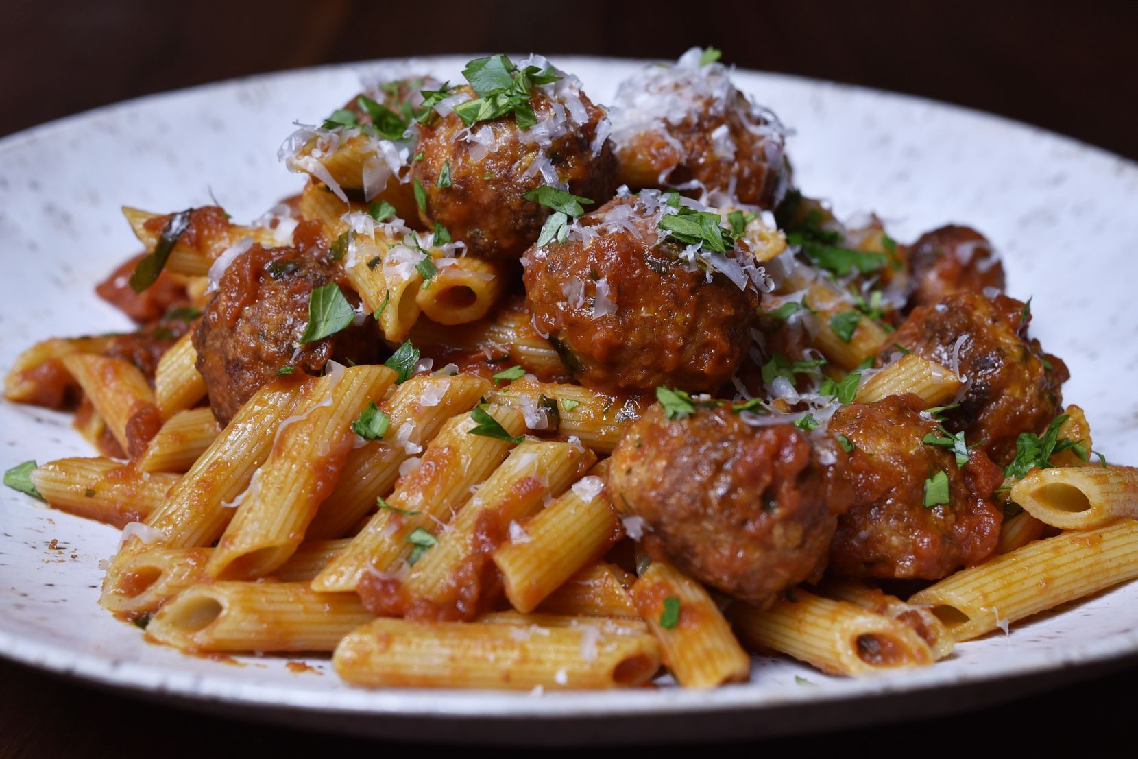 Pasta with meatballs and red sauce from Nonna Italian restaurant in Dallas, Jan. 13, 2020. Ben Torres/Special Contributor