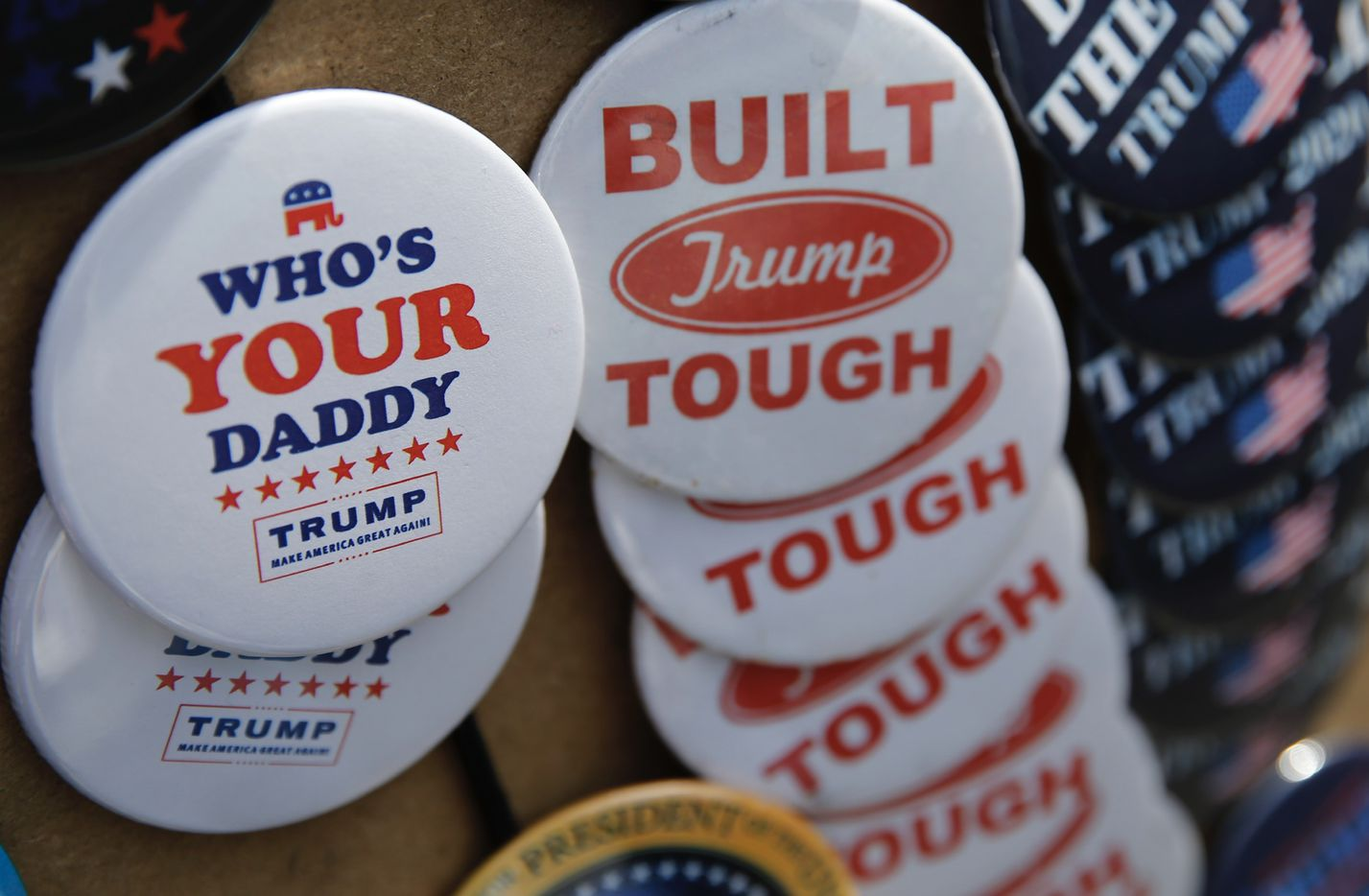 Products available for purchase outside the Keep America Great Rally for President Donald Trump at the American Airlines Center in Dallas, on Thursday, October 17, 2019.