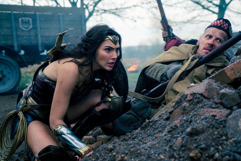 Gal Gadot is Diana and Ewen Bremner is Charlie in Warner Bros.' Wonder Woman.