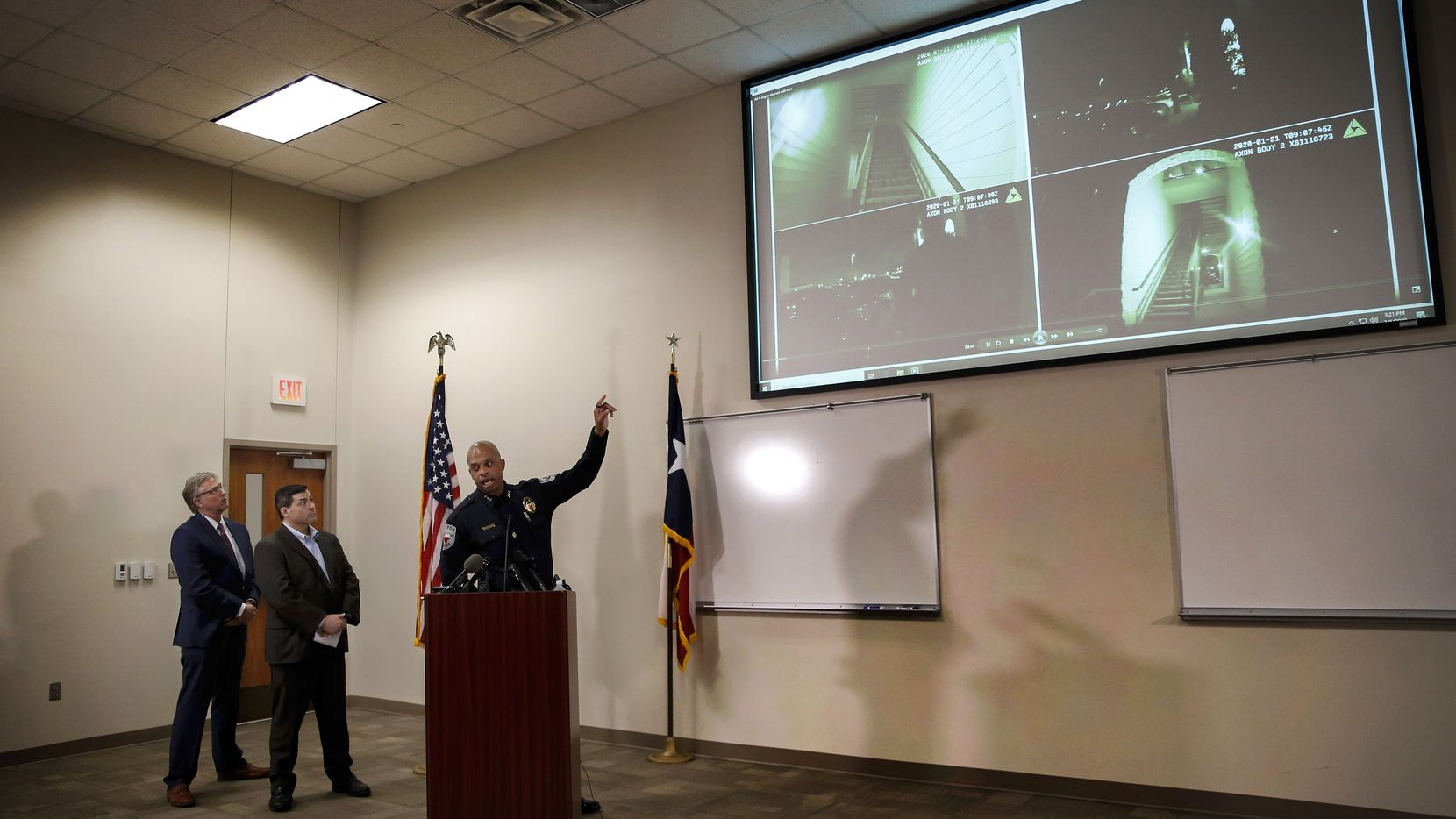 Denton's then-Mayor Chris Watts (from left), then-City Manager Todd Hileman and police Chief Frank Dixon watched body camera footage of Darius Tarver's shooting during a March 2020 news conference.