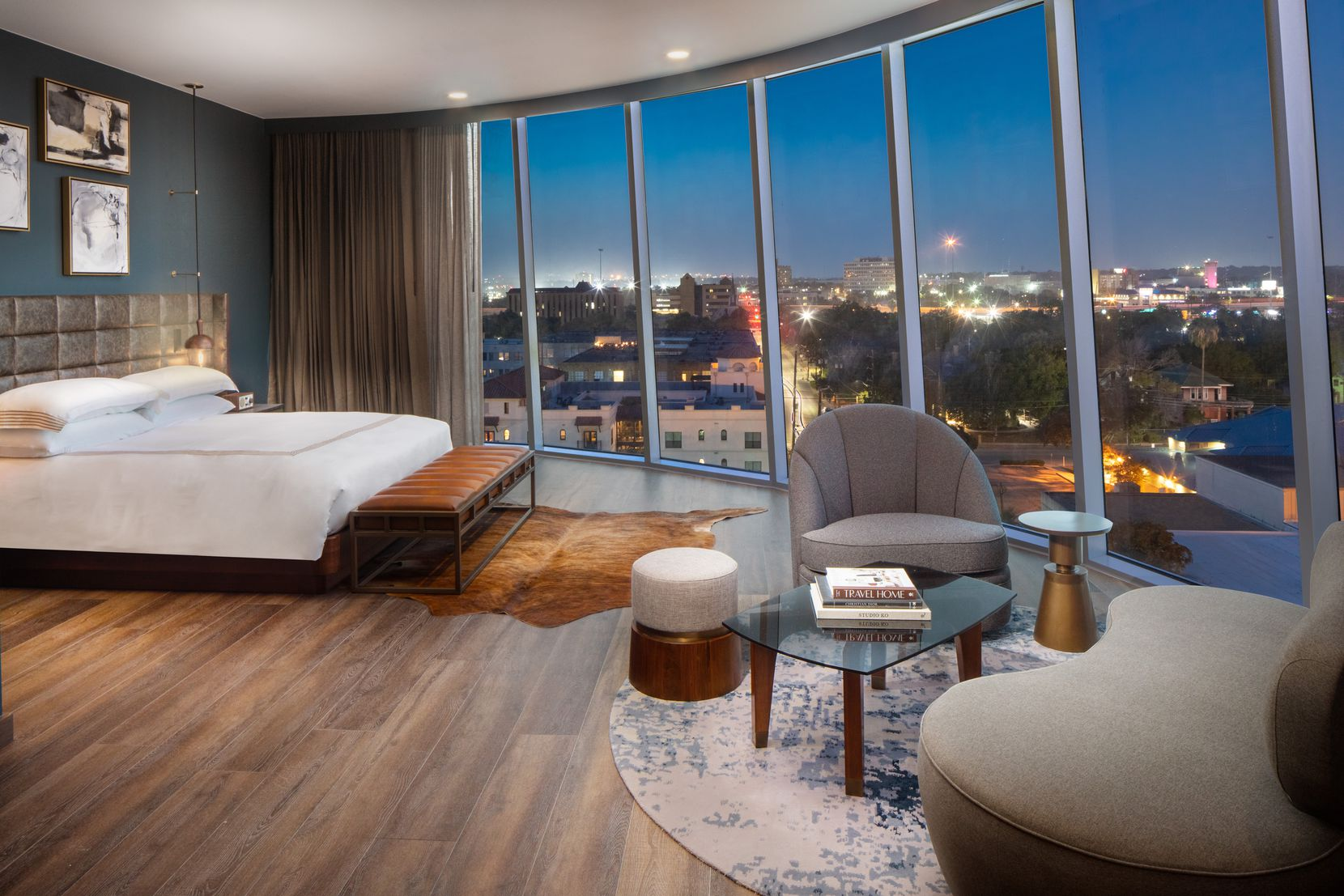 This Studio Suite, one of 33 suites at the Thompson San Antonio, offers picturesque views of the city.