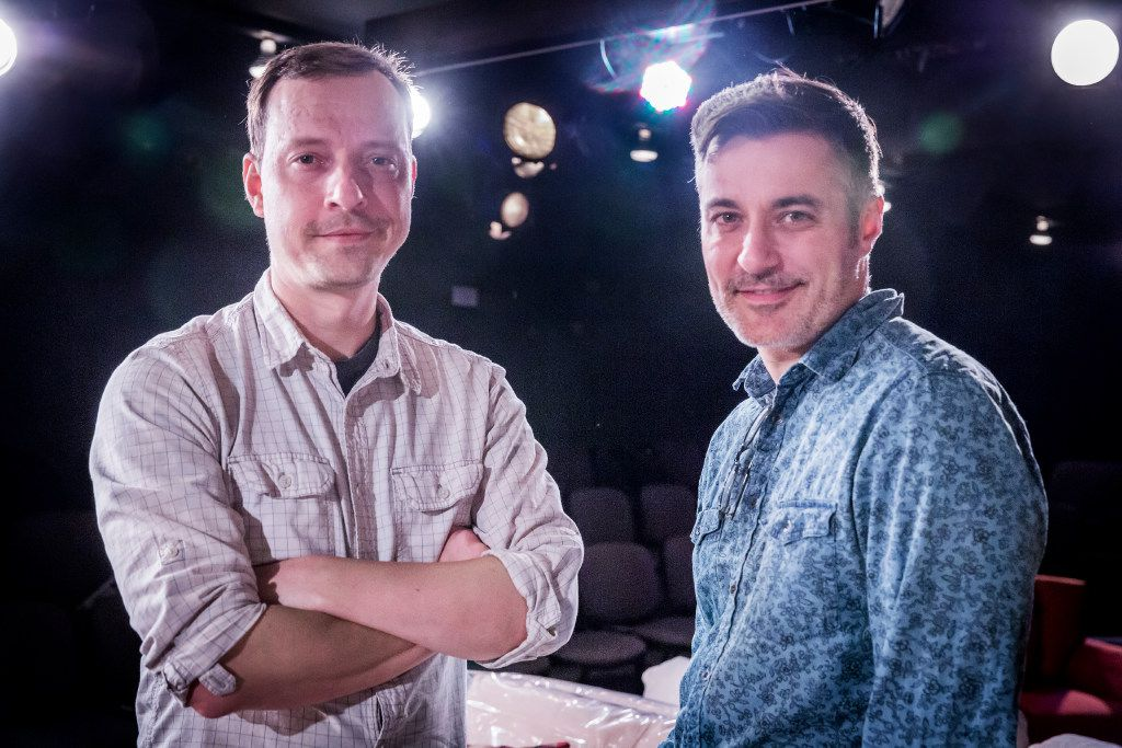 Dallas playwright Matt Lyle, left, and Jeffrey Schmidt, artistic director of Theatre Three pose at Theatre Too in Dallas on Sept. 5, 2017.