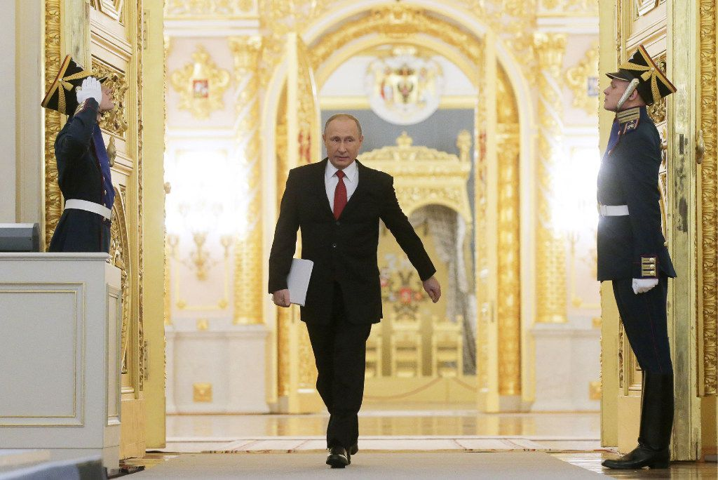 Russian President Vladimir Putin, shown at the Kremlin, is a hot topic in Washington these days. (Metzel Mikhail/TNS)