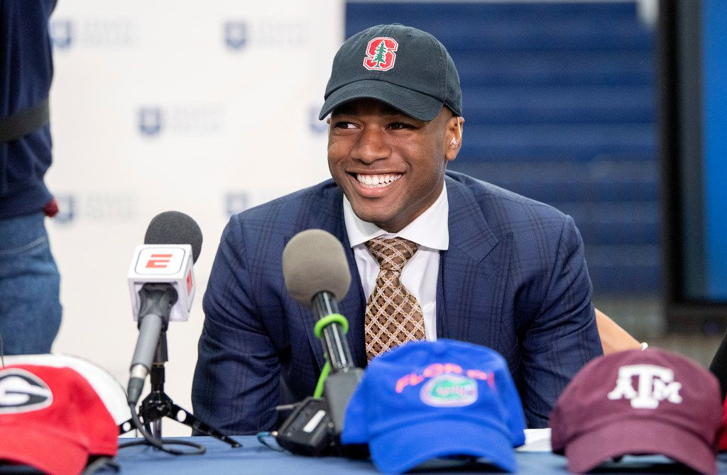 Jesuit senior running back EJ Smith, son of NFL all-time leading rusher Emmitt Smith, is interviewed on a live ESPN telecast after announcing his commitment to play football at Stanford University during a signing day ceremony, Wednesday, December 18, 2019 at Jesuit College Preparatory School in Dallas. (Jeffrey McWhorter/Special Contributor)