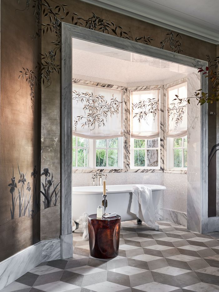 The primary bathroom at the Kips Bay Decorator Show House Dallas. Designed by Doniphan Moore Interiors.