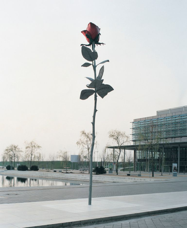 Rose 1993/1997 by Isa Genzken; steel, aluminium, lacquer height  approximately 800 cm in Leipzig, Germany.
