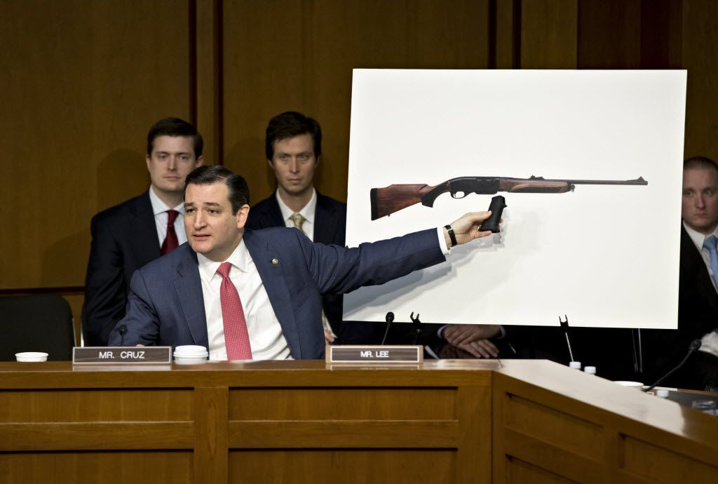 Senate Judiciary Committee member, freshman Sen. Ted Cruz, R-Texas uses a life size photo of a Remington 750, a popular hunting rifle, to make a point about the proposed ban on certain kinds of guns, during the Senate Judiciary Committee hearing on what lawmakers should do to curb gun violence in the wake of last month's shooting rampage at that killed 20 schoolchildren in Newtown, Conn.,Wednesday, Jan. 30, 2013, on Capitol Hill in Washington.  (AP Photo/J. Scott Applewhite) 01312013xNEWS