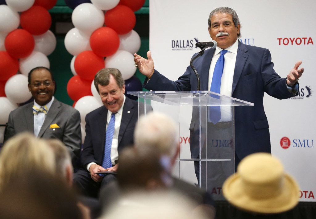 Dallas ISD Superintendent Michael Hinojosa spoke during a grant announcement at the Texas Rangers MLB Youth Academy in Dallas on Friday. Dallas ISD, Toyota and Southern Methodist University will join forces to open a grade school in West Dallas focused on science, technology, engineering and math instruction.