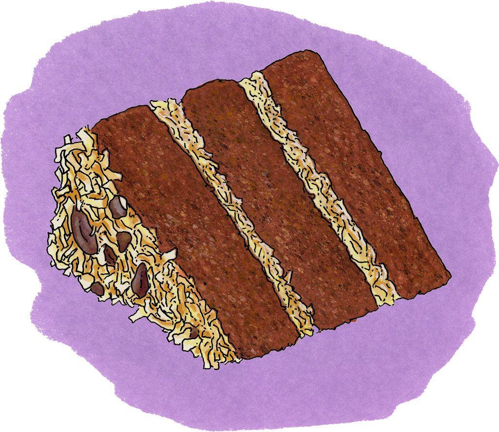 German Sweet Chocolate Cake has three cake layers (sometimes two).
