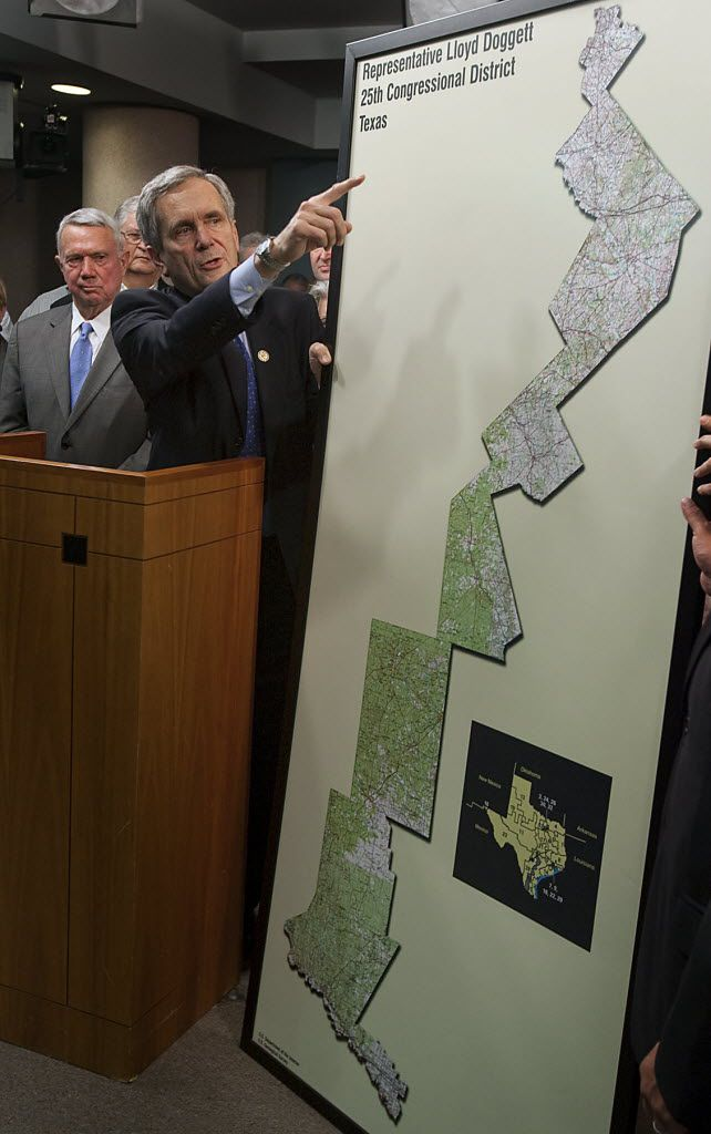18 APRIL 2011: US Congressman Lloyd Doggett, points to a previous redistrict map done by then Republican Tom Delay during a press conference held to discuss his concern with the proposed redistricting plan for Austin's 25th Congressional District  held at the Travis County Commissioners Courtroom in Austin, Texas on Monday, April 18, 2011.