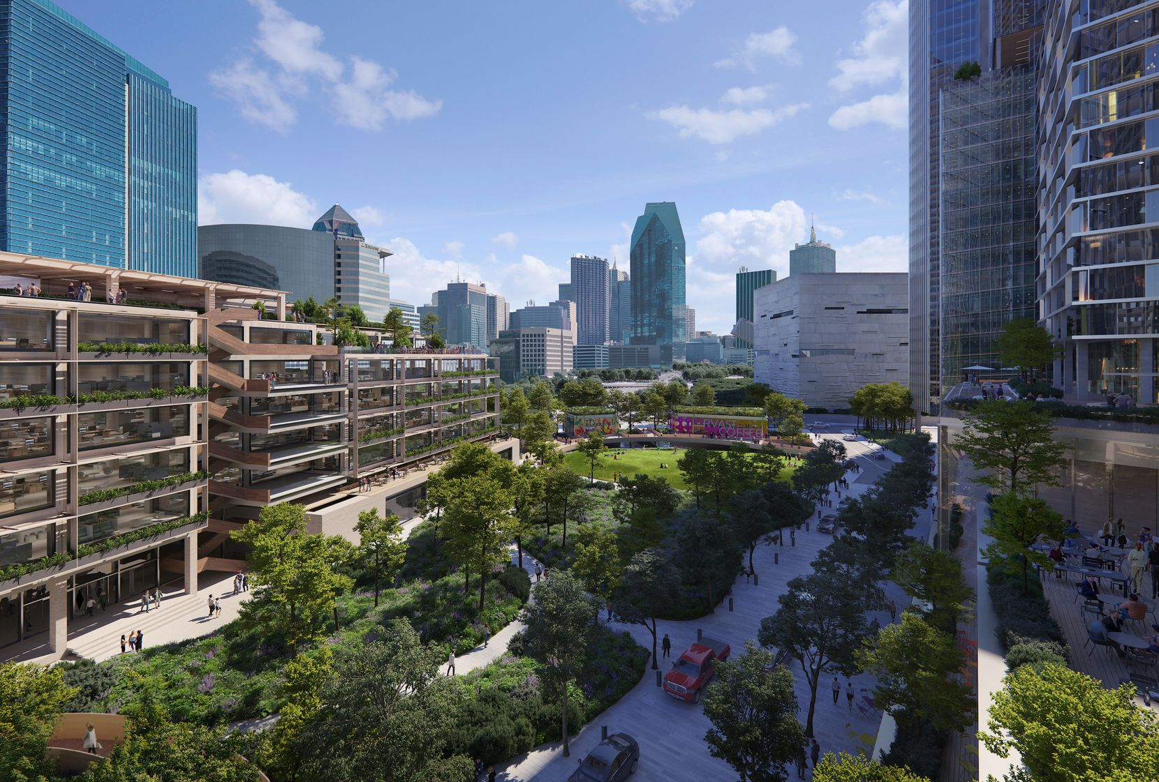 A 1.5-acre urban park will be the front door of the new development facing downtown Dallas.
