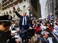 PUBLISHED February 10, 1993 - Dallas Cowboys owner Jerry Jones acknowledges the cheers from hundreds of thousands of fans who descended on downtown Dallas Tuesday to join in the Super Bowl victory parade. The Dallas Cowboys beat the Buffalo Bills in Super Bowl XXVII, 52-17, in Pasadena.