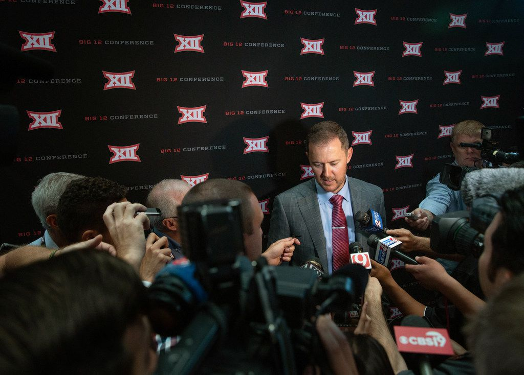 University of Oklahoma head football coach Lincoln Riley speaks with reporters during the Big 12 Conference Media Days event at the AT&T Stadium in Arlington, Texas, Monday, July 15, 2019. (Lynda M. Gonzalez/The Dallas Morning News)