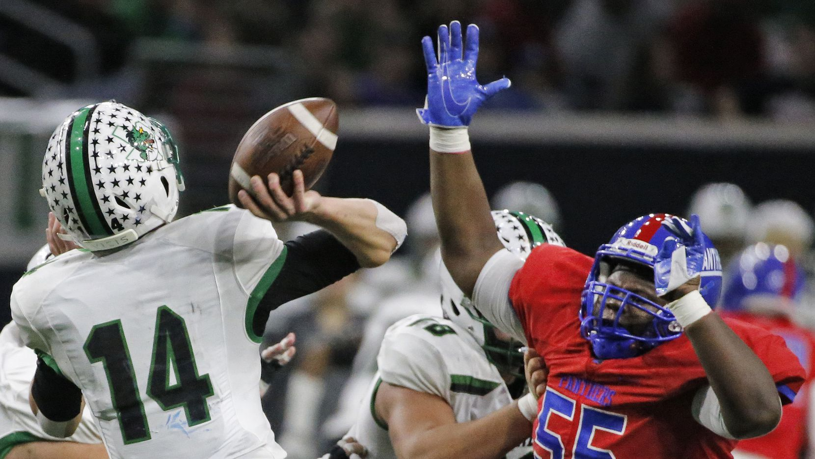 Duncanville defensive lineman De'Braylon Carroll (55) is pictured during the Southlake Carroll Dragons vs. the Duncanville Panthers Class 6A Division I Region I high school football playoff game at the Star in Frisco, Texas on Saturday, December 8, 2018.