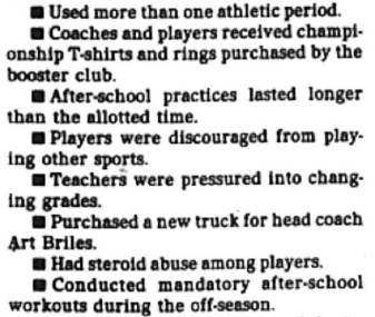 A total of 10 UIL violations were charged in Carmichael's letter.