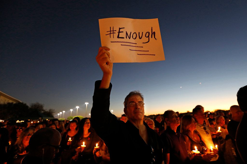 Mourners gather at a vigil for the victims of the mass shooting at Marjory Stoneman Douglas High School in Parkland, Fla., on Thursday, Feb. 15, 2018. (Carolyn Cole/Los Angeles Times/TNS)