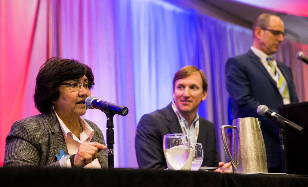 Democrat gubernatorial candidate and former Dallas Sheriff Lupe Valdez, left, participates in a debate with Andrew White of Houston at the Texas AFL-CIO COPE Convention on Saturday, January 20, 2018 at the Sheraton Austin Hotel in Austin. (Ashley Landis/The Dallas Morning News)