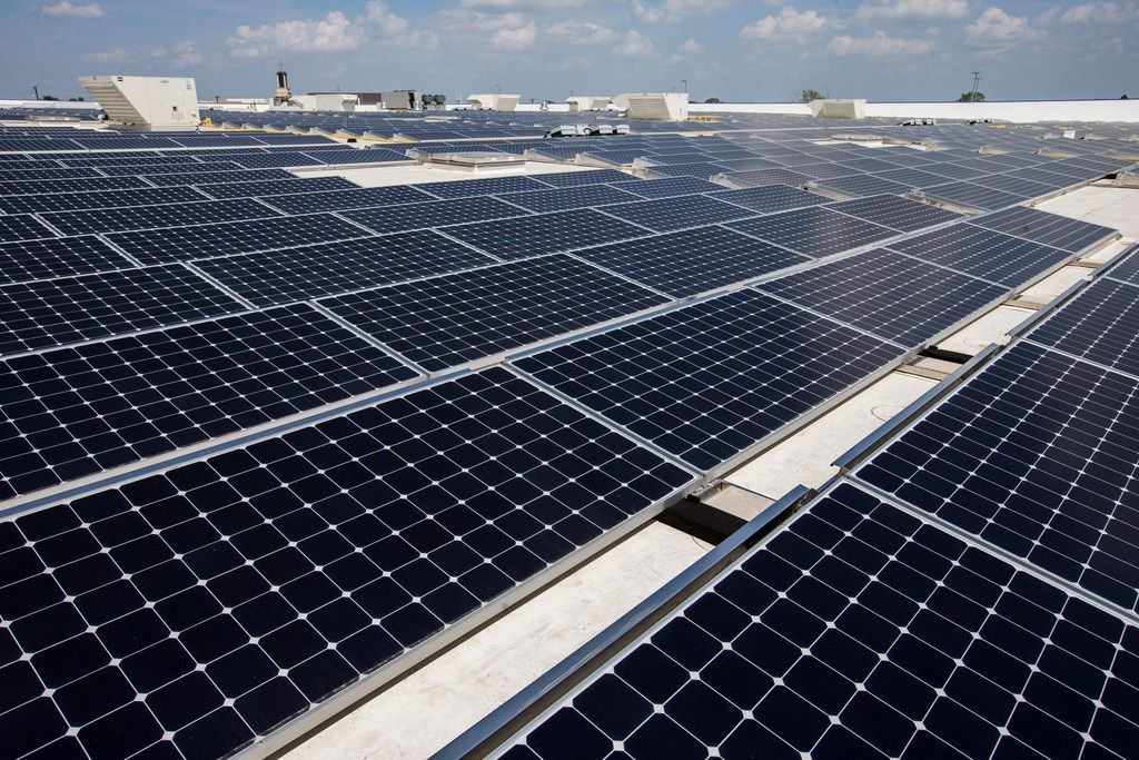 About 2,800 large format solar panels that have been installed on the roof of a new IKEA store on Tuesday, September 19, 2017, at the northeast corner of Interstate 20 and Texas 161 in Grand Prairie. The panels will produce approximately 2,000,000 kWh of electricity per year for the store.