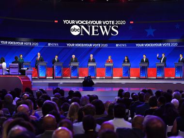 A Democratic presidential debate in Houston brought a bevy of White House contenders to Texas in September 2019. (Photo by Robyn BECK / AFP)ROBYN BECK/AFP/Getty Images