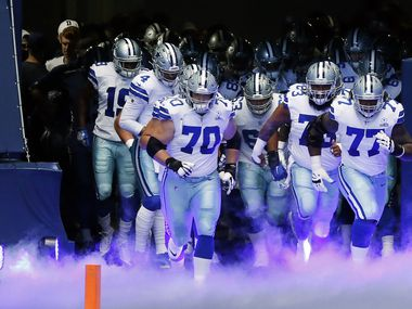 The Dallas Cowboys are introduced before a game against the Cleveland Browns on Sunday, Oct. 4, 2020, at AT&T Stadium in Arlington.
