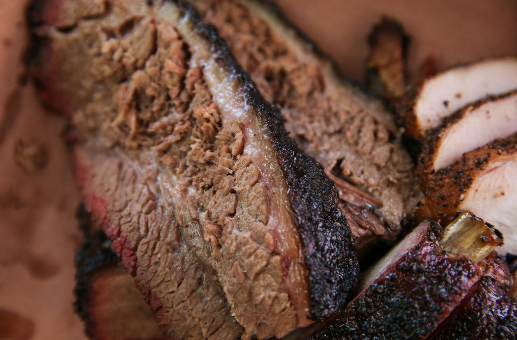 Smoked brisket is seen at Smoke Sessions Barbecue on Friday, April 20, 2019 in Royse City, Texas. (Ryan Michalesko/The Dallas Morning News)