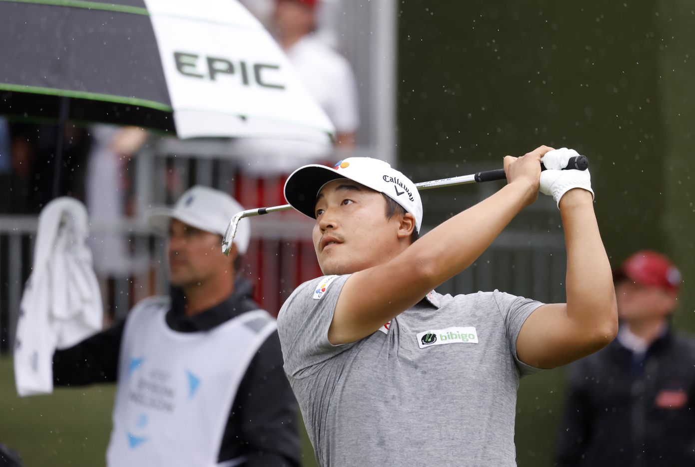 Kyoung-Hoon Lee after hitting from the tee box on the 17th hole during round 4 of the AT&T Byron Nelson  at TPC Craig Ranch on Saturday, May 16, 2021 in McKinney, Texas. (Vernon Bryant/The Dallas Morning News)