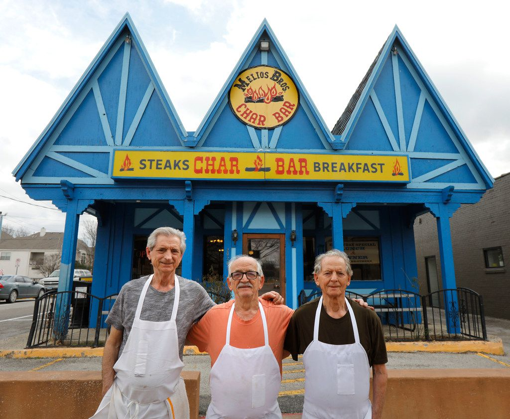 Fom left: Mike Melios, Tommy Melios and Gus Melios -- three of the four brothers who have owned and operated the Char Bar since 1972. This photo was taken in February 2018, the first time it was rumored that the Char Bar's days had come to an end.