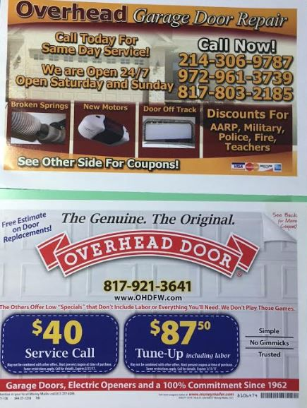 These both arrived in the latest Money Mailer. The one on top is the company trying to siphon off customers from the reputable Overhead Door using the red ribbon, the coupon below.
