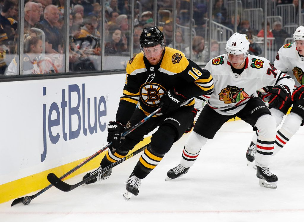 Boston Bruins' Brett Ritchie keeps the puck from Chicago Blackhawks' Nicolas Beaudin during the first period of an NHL preseason hockey game Saturday, Sept. 28, 2019, in Boston.