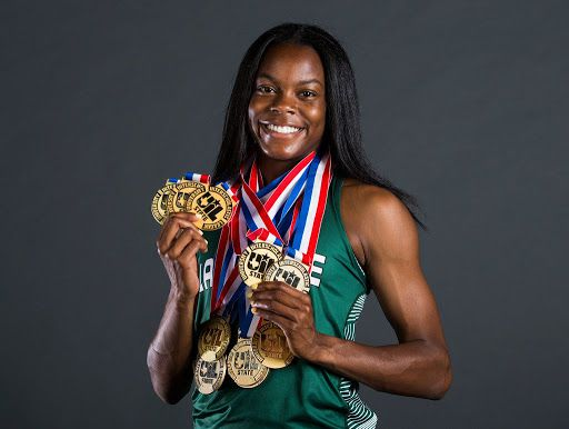 Mansfield Lake Ridge senior Jasmine Moore poses for a portrait at The Dallas Morning News after being named the 2019 All-Area Girls Track and Field Athlete of the Year.