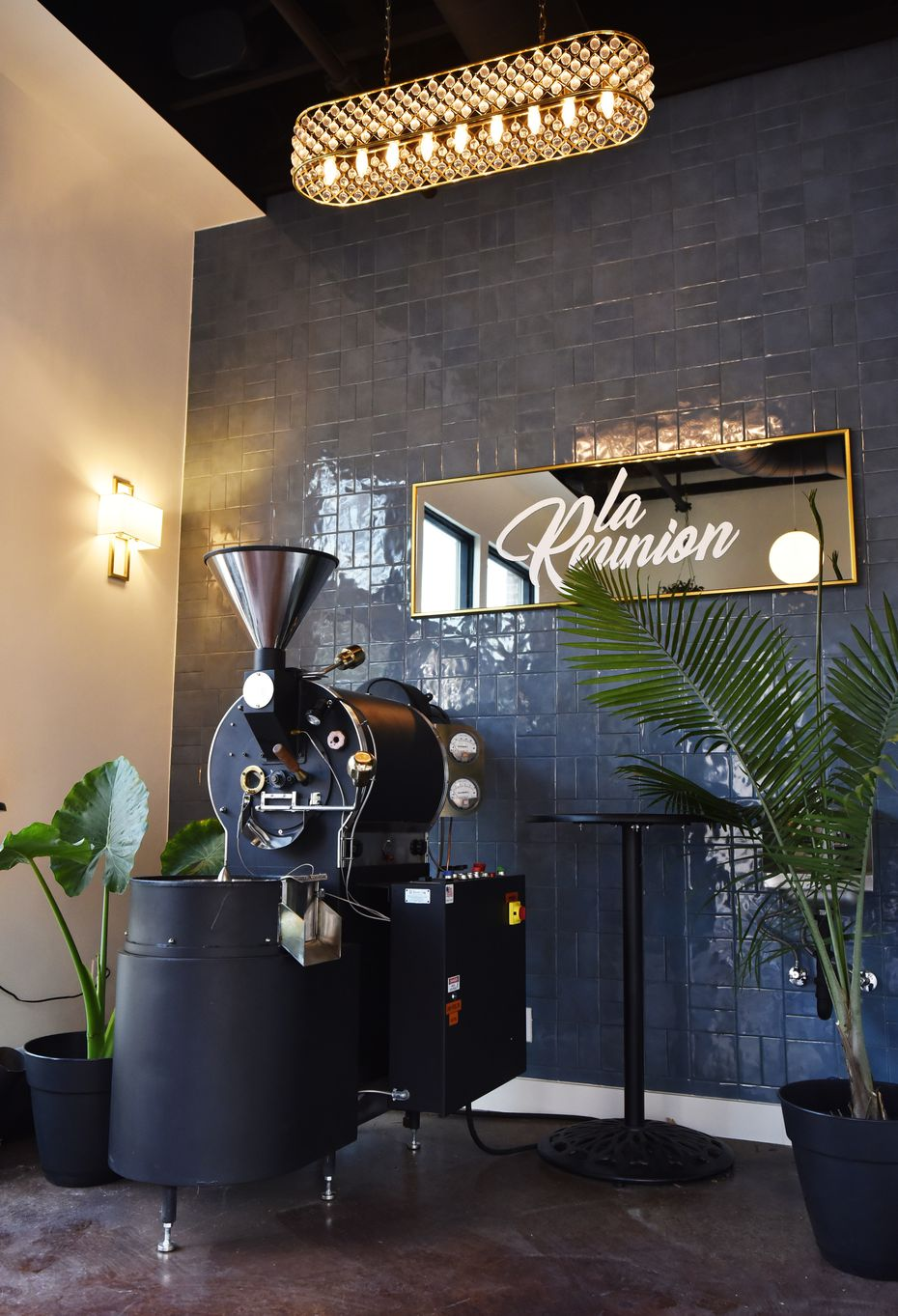 "The coffee roaster on display in the corner of La Reunion is ""one of the most expensive things I own,"" says Michael Mettendorf. It and the Modbar AV espresso machine — which Mettendorf believes is the only one in Texas — are two essential parts of the shop."