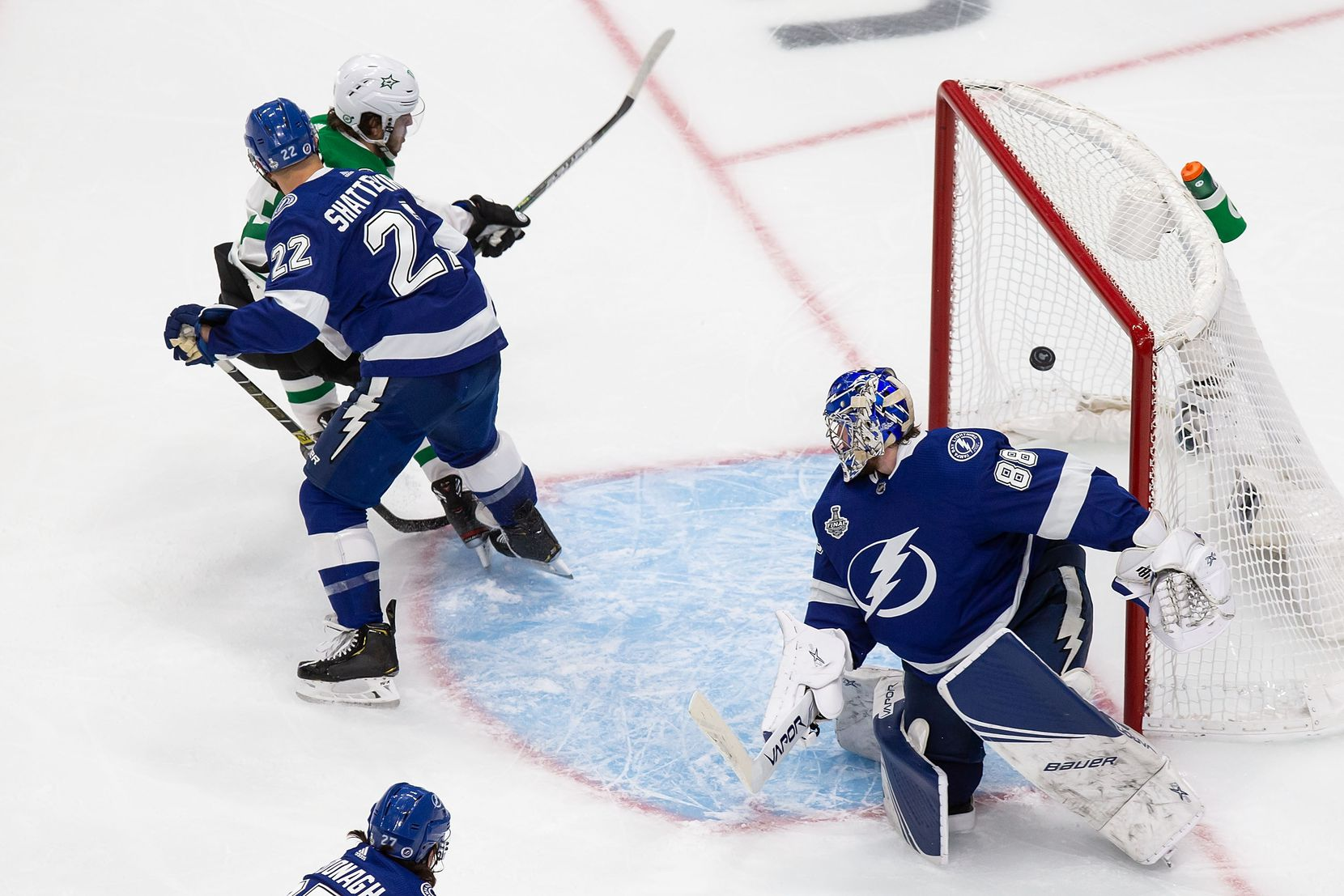 Mattias Janmark (13) of the Dallas Stars scores against goaltender Andrei Vasilevskiy (88) of the Tampa Bay Lightning during Game Two of the Stanley Cup Final at Rogers Place in Edmonton, Alberta, Canada on Monday, September 21, 2020. (Codie McLachlan/Special Contributor)