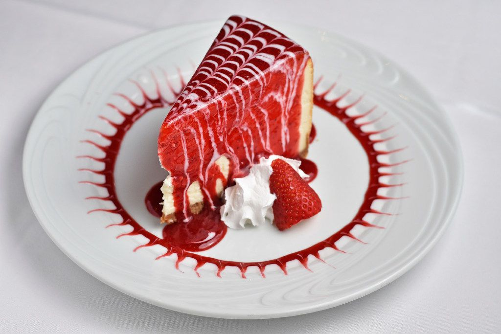 New York style cheesecake with strawberry sauce from the new Fogo de Ch‹o in Uptown, Friday, May 19, 2017 in Dallas. Ben Torres/Special Contributor