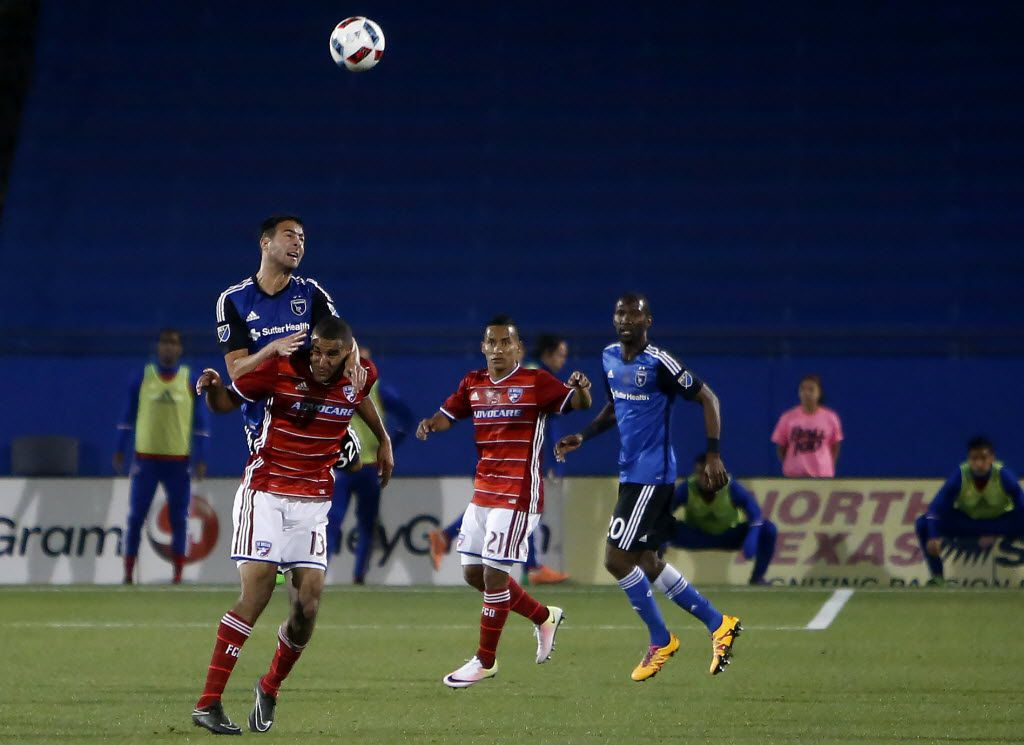 Earthquakes Andres Imperiale 32 tries to hit the ball over FC Dallas Tesho Akindele 13 during action between FC Dallas vs San Jose at Toyota Stadium in Frisco, Texas, Saturday, April 9, 2016. (Anja Schlein/Special Contributor)