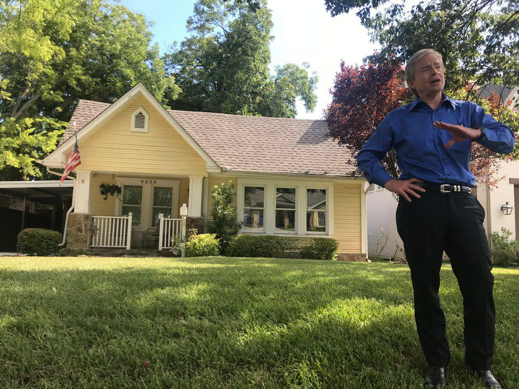 Texas Sen. Don Huffines stands outside of the home where his grandparents once lived in Dallas on Sept. 4, 2018. Huffines, a Republican, is running for re-election this year against Democrat Nathan Johnson.