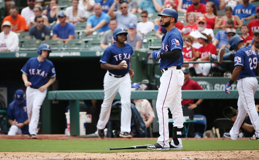 Texas Rangers right fielder Nomar Mazara reacts after striking out with the bases loaded to end the fifth inning during a Major League Baseball game between the Houston Astros and the Texas Rangers at Globe Life Park in Arlington, Texas Sunday August 13, 2017. The Astros won 2-1. (Andy Jacobsohn/The Dallas Morning News)