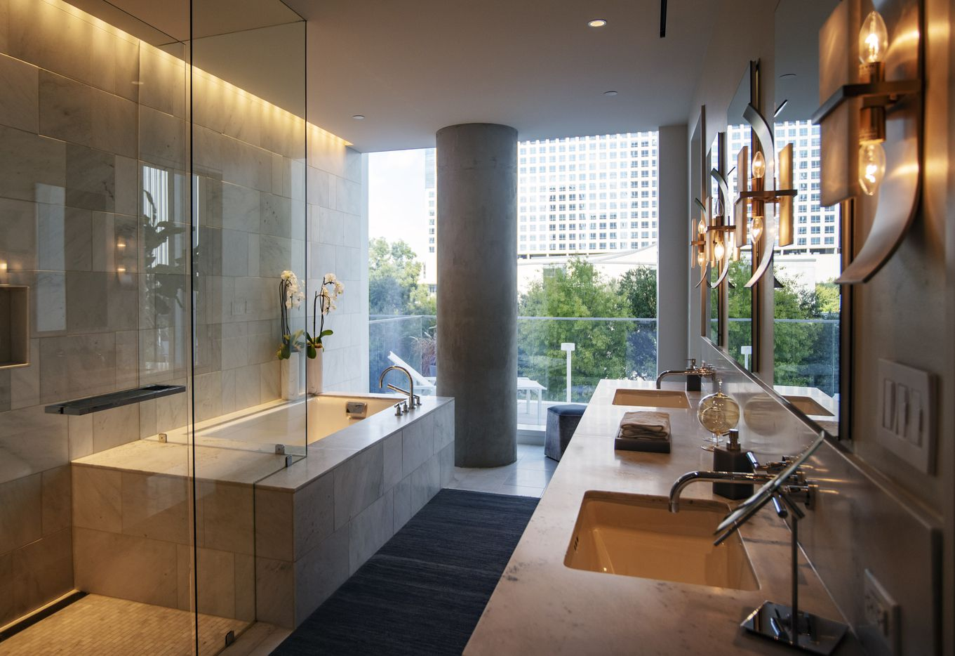 A master bathroom inside a model home at the Hall Arts Residences.