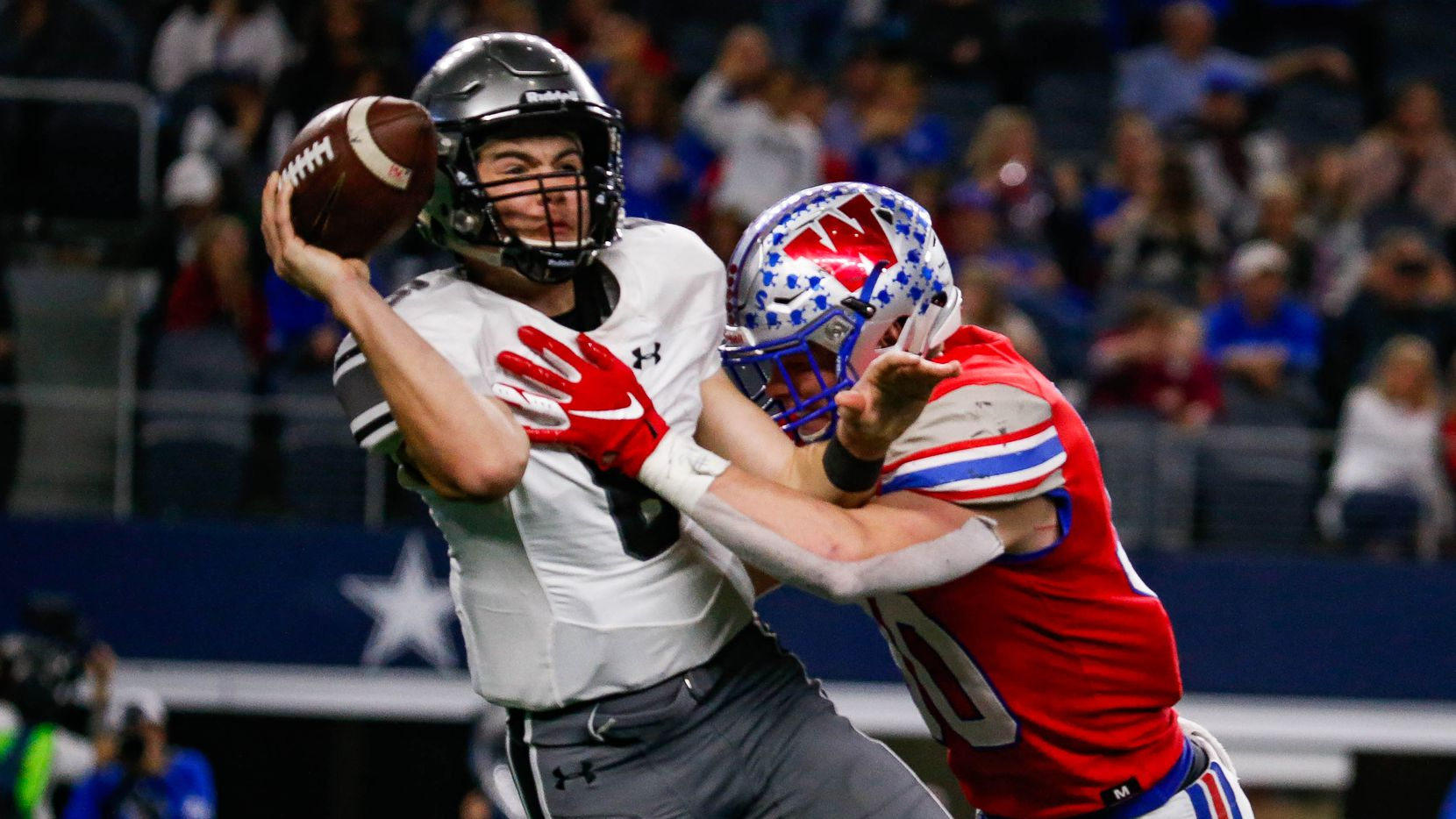 Denton Guyer's QB Jackson Arnold (6) is sacked in the fourth quarter of a Class 6A Division II state championship game between Denton Guyer and Austin Westlake at the AT&T Stadium in Arlington, on Saturday, December 21, 2019. Westlake won the game 24-0.