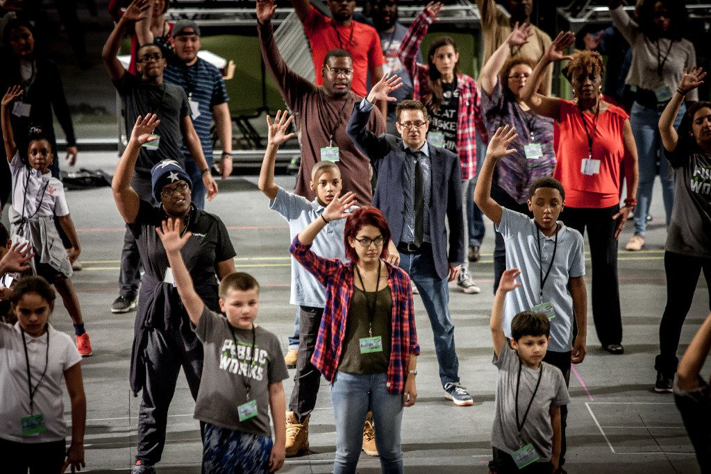 The cast of The Tempest, the first production in Dallas Theater Center's Public Works Dallas program, rehearsing in 2017.