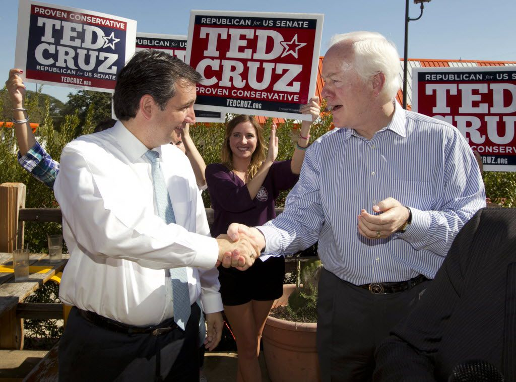 Sen. John Cornyn (right) campaigned for Ted Cruz for Senate in 2012. Cruz didn't return the favor two years later. (FILE PHOTO)