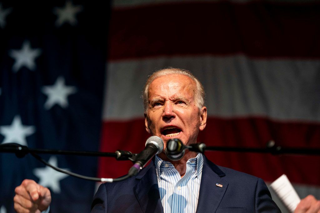 Joe Biden speaks to voters at the 2019 Iowa Democratic Wing Ding in Clear Lake, Iowa, on Aug. 9, 2019.