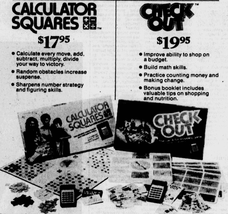 December 2, 1976, advertisement for the games Calculator Squares and Check Out