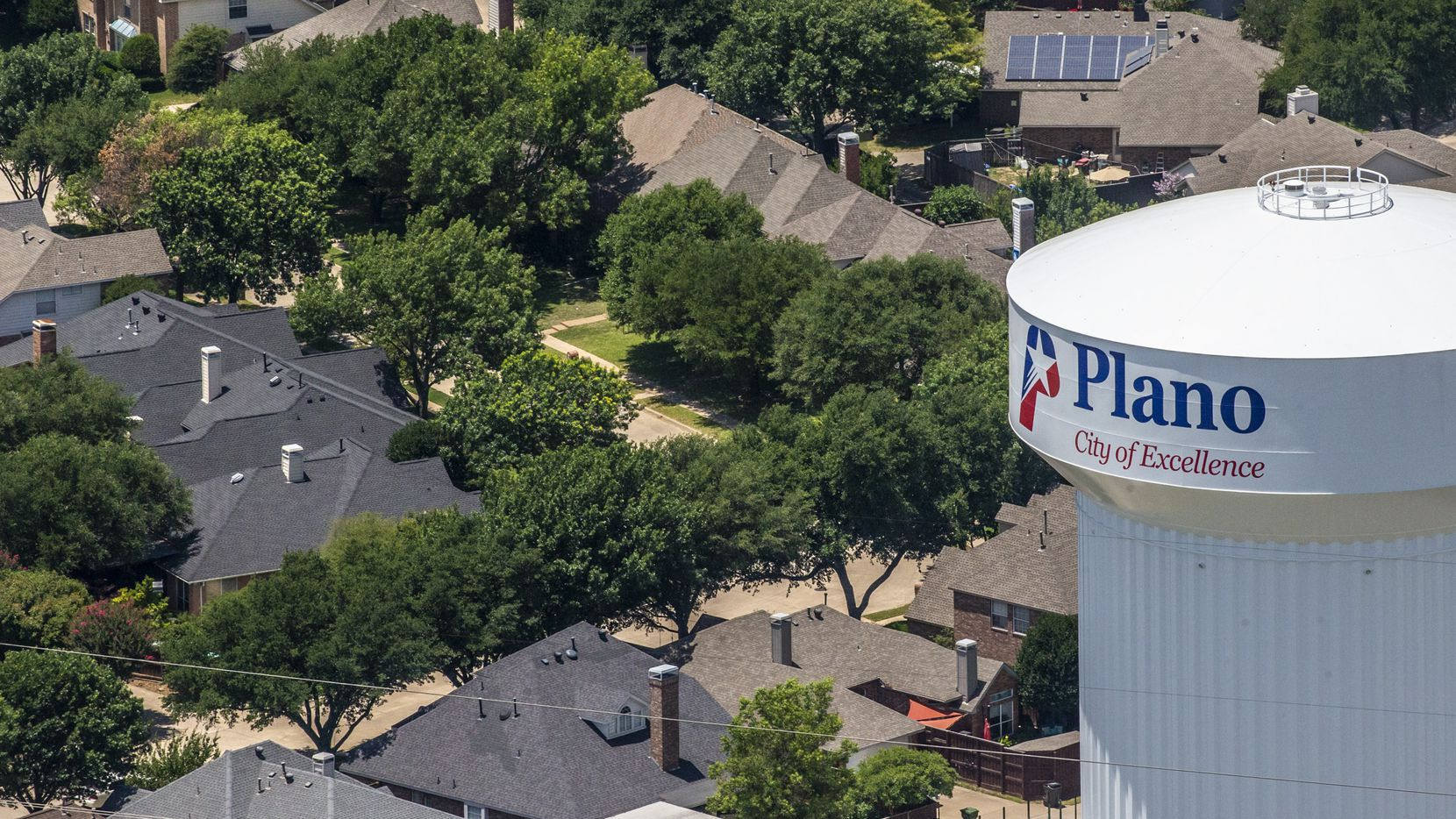 A Plano water tower in Plano, Texas, on Thursday, June 18, 2020. (Lynda M. Gonzalez/The Dallas Morning News)