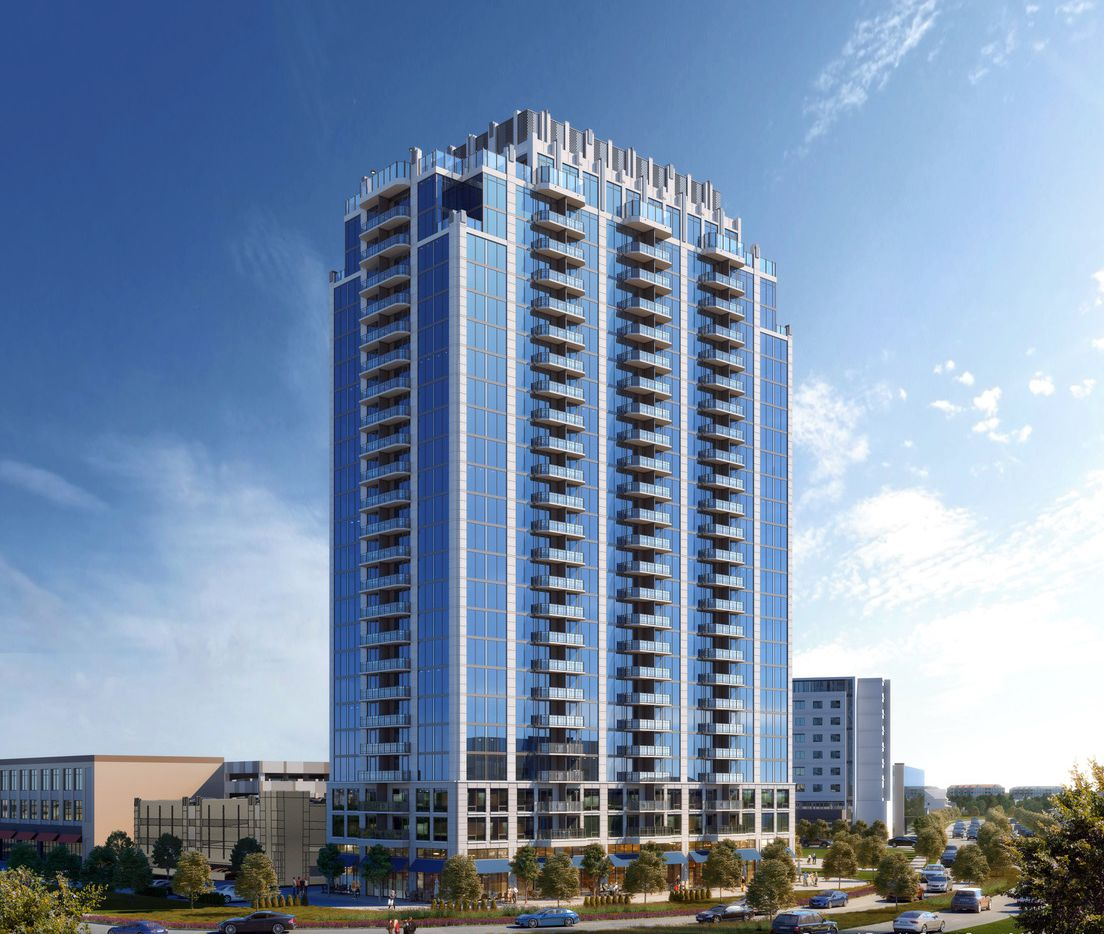 The 25-story SkyHouse Frisco Station apartment tower is being built near the Dallas North Tollway.
