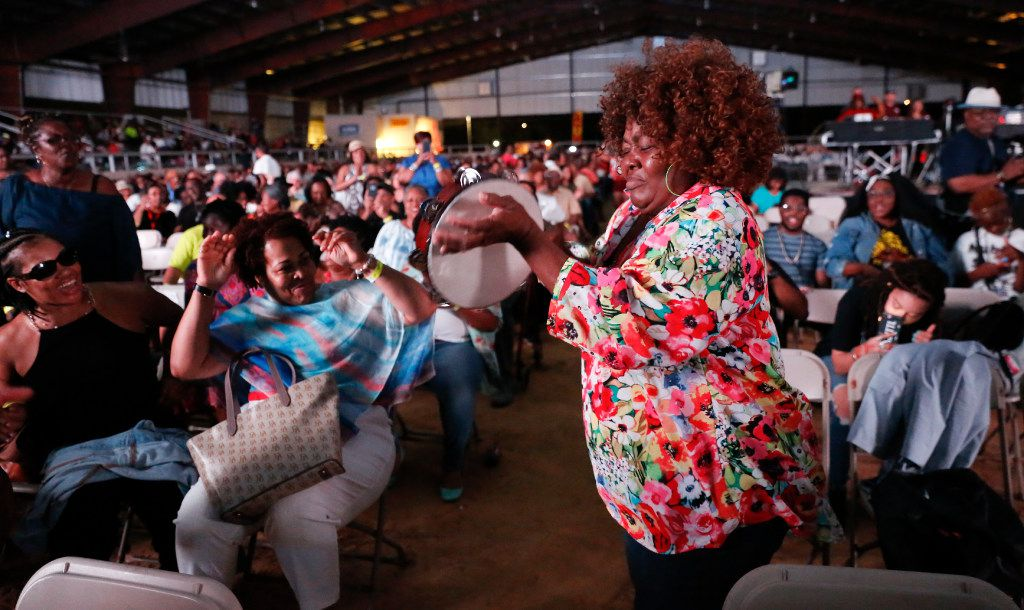 Rosalie Ashton-Washington, a.k.a. Lady Tambourine of New Orleans, entertained the crowd  the  Riverfront Jazz Festival in  2017.