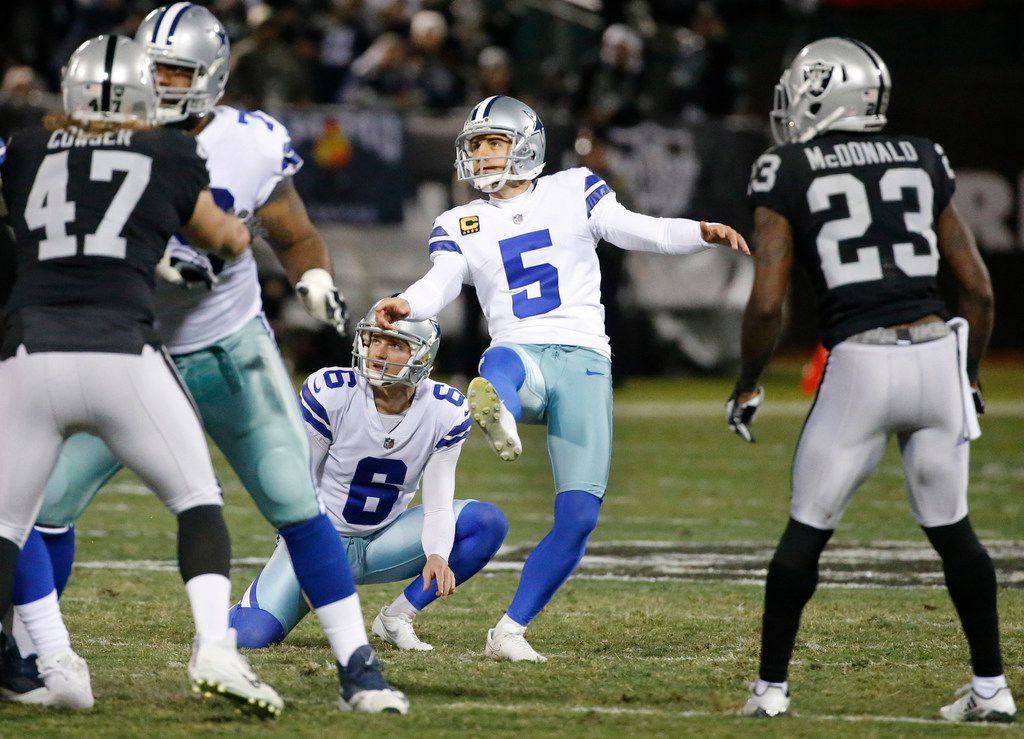 FILE - Cowboys kicker Dan Bailey (5) kicks a field goal during a game against the Raiders at the Oakland-Alameda County Stadium in Oakland, Calif., on Sunday, Dec. 17, 2017.