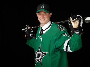 Thomas Harley poses for a portrait after being selected eighteenth overall by the Dallas Stars during the first round of the 2019 NHL Draft at Rogers Arena on June 21, 2019 in Vancouver, Canada.